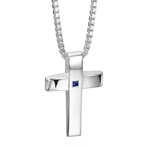 s genuine sapphire cross necklace personalised