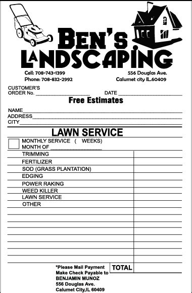 Landscaping Receipt Template by Lawn Service Invoice Template Lawn Maintenance Contract