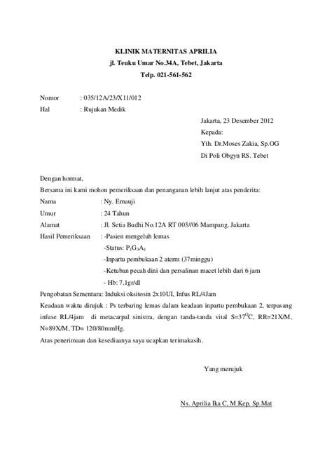 contoh surat rujukan obstet ginek