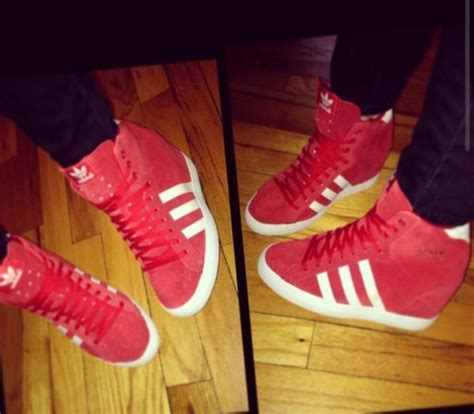Shoes: adidas, wedge sneakers, red, trendy, urban, dope