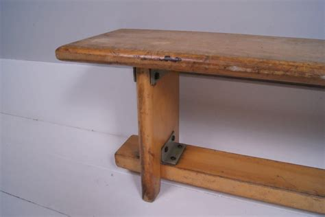 vintage wooden bench children s vintage wooden school bench blue ticking