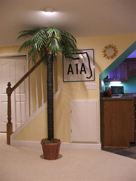 hide that ugly basement pole with a palm tree finished