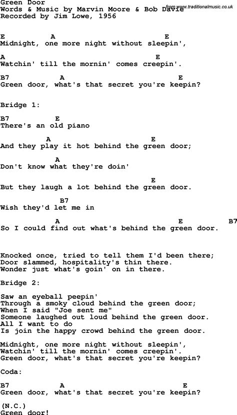 Green Door Lyrics by Doors Chords