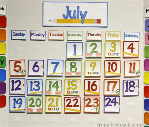home preschool calendar board from abcs to acts