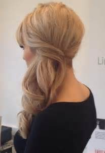 Elegant side swept half updo prom hairstyle 2015