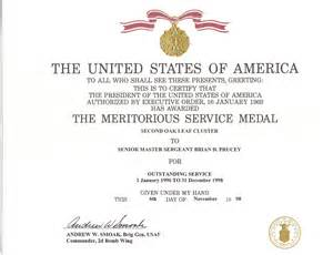 meritorious service medal citation template service