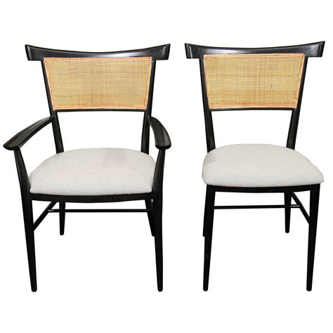 set of 6 black lacquer and paul mccobb dining chairs