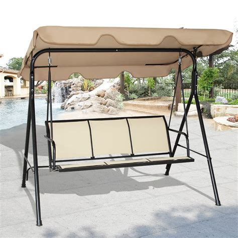 garden swing costway 3 person patio swing outdoor canopy awning yard