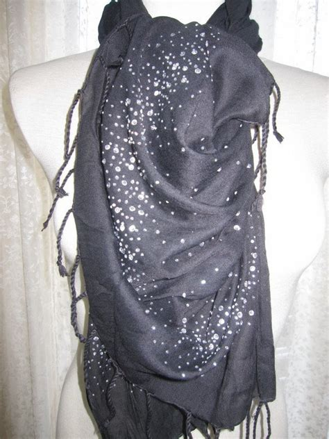 black and silver sequin cotton scarf shawl s day