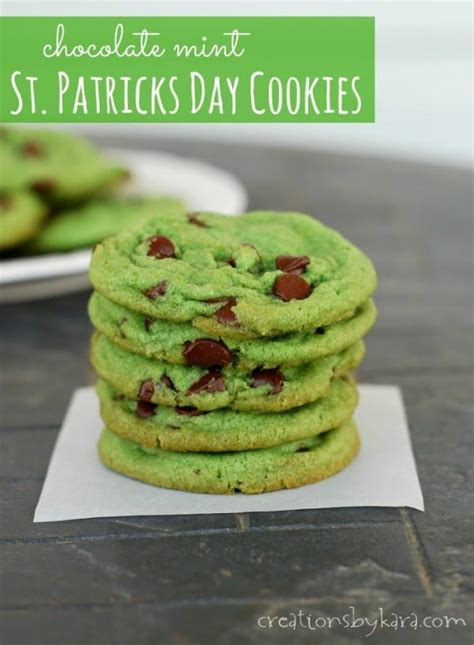 day cookie recipes green mint chocolate chip cookies for st patricks day