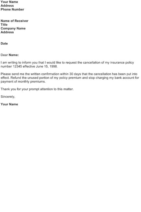 Letter To Cancel A Insurance Policy Cancellation Of Insurance Policy Sle Letter Free