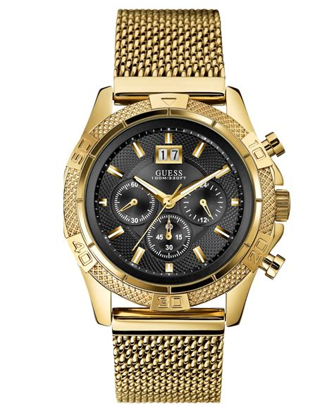 Guess Stainles Gold 1 guess s chronograph gold tone stainless steel mesh bracelet 46mm u0205g1 in metallic