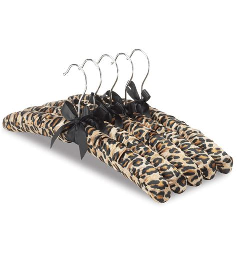 satin padded hangers leopard print set of 5 in padded