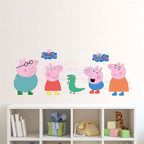 peppa pig wall stickers peppa pig wall sticker peppa pig and family wall decal