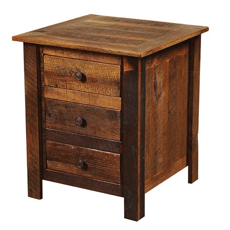 Nightstand With Drawer Barnwood 3 Drawer Nightstand With Barnwood Legs
