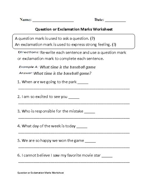 free printable question mark worksheets 11 best images of period worksheet grade 1 exclamation