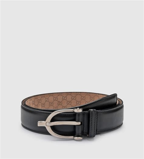 gucci black leather belt with spur buckle in black for