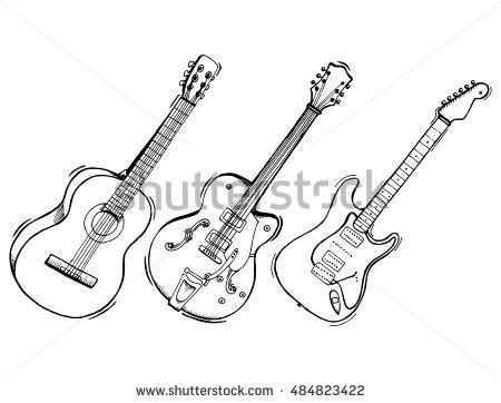 guitar clipart drawn pencil and in color guitar clipart