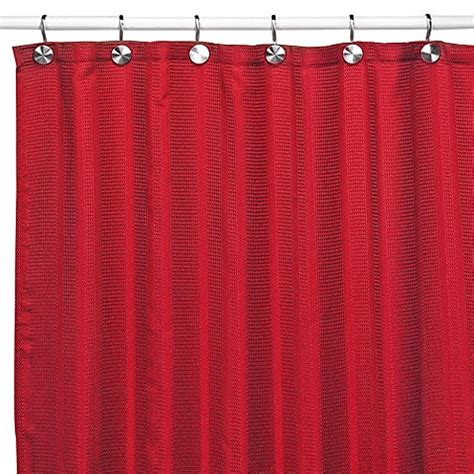 shower curtains with red in them westerly red fabric shower curtain bedbathandbeyond com