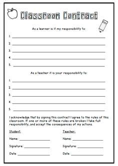 responsibility contract template beginning of the year on day back to