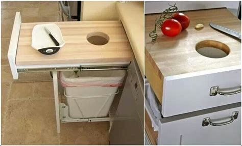 kitchen cabinet garbage drawer kitchen drawer cutting board above trash can closets