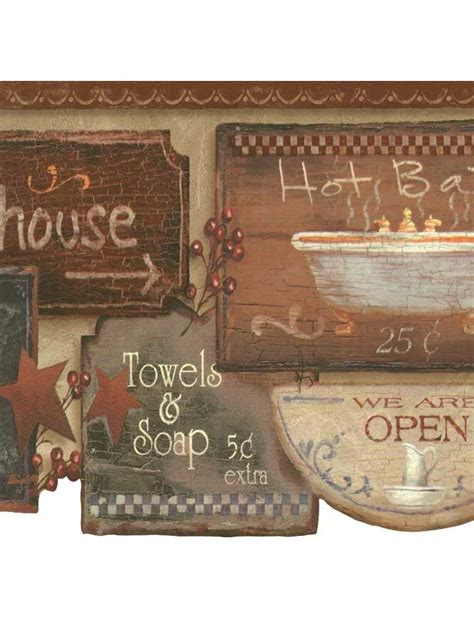 bathroom border wallpaper rustic bath signs wallpaper border jn1848b country