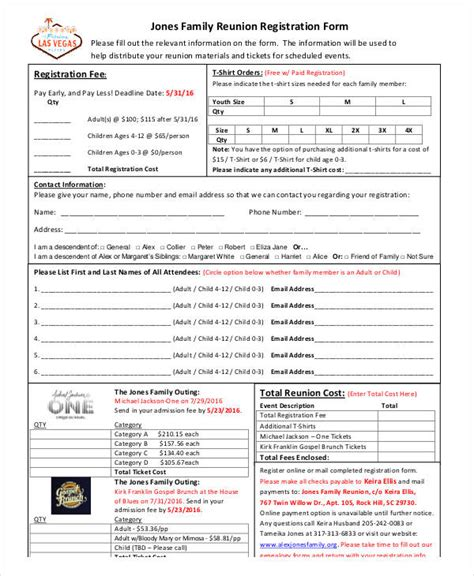 family reunion registration form template 31 reservation form templates
