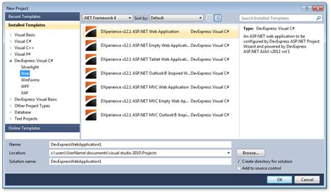 templates for asp net projects what s new in 2012 devexpress