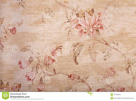 beige shabby wallpaper with floral pattern stock photos
