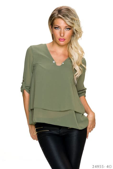 Olive Blouse Wd 1 fashion e shop wide chiffon blouse olive 003 24955