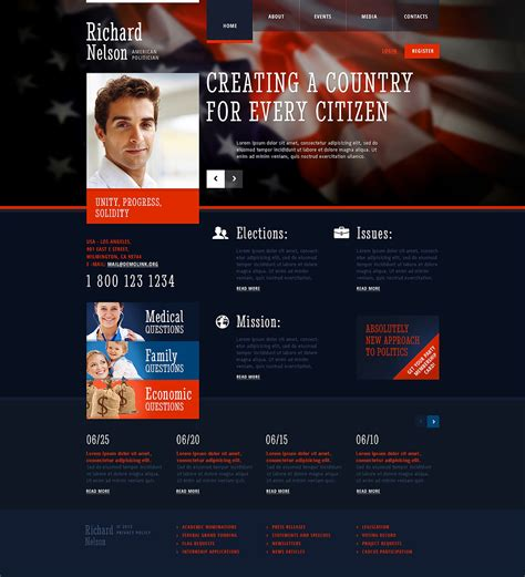 Political Candidate Responsive Website Template 45312 Political Website Templates