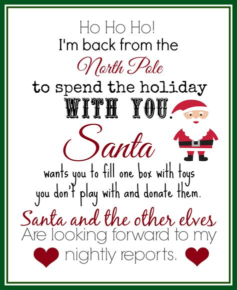 printable elf on the shelf introduction letter from santa print this elf returns letter with instructions to donate toys