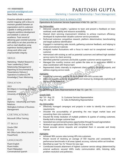 one page resume customer service sales associate creator