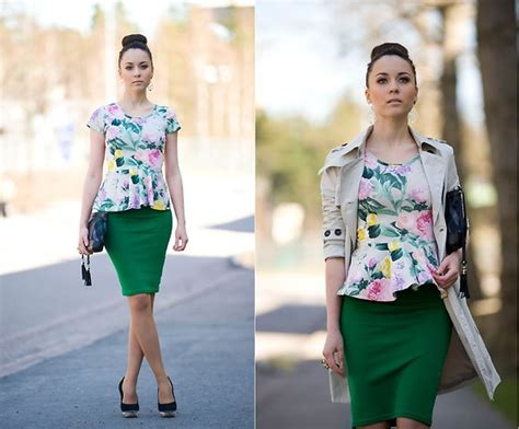 we inspire us h m peplum top floral top h m green