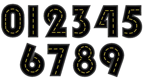 free printable road numbers road with wide satin stitch numbers machine embroidery