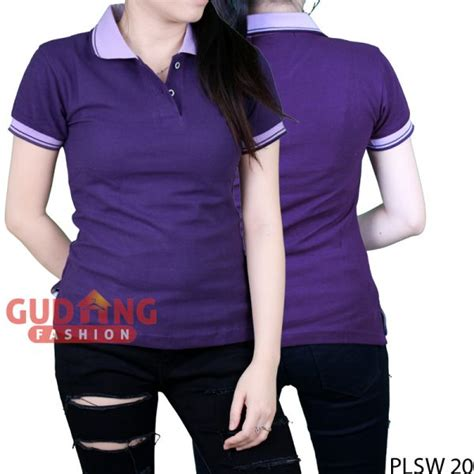 Polo Shirt Polos Kaos Polos Pique Cotton Pique kaos kerah polo shirt basic wanita cotton pique ungu tua