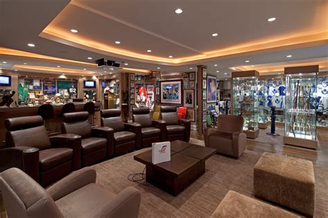 Basement man cave design ideas home theater traditional with display shelves recessed lighting