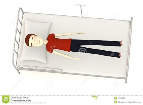 man in hospital bed cartoon man on hospital bed stock photo image 29934880