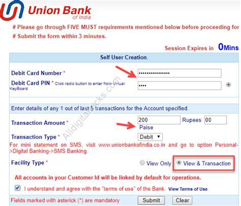 union bank net banking registration union bank of india banking registration