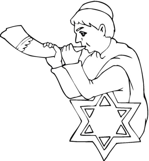 boy with shofar on rosh hashanah coloring page