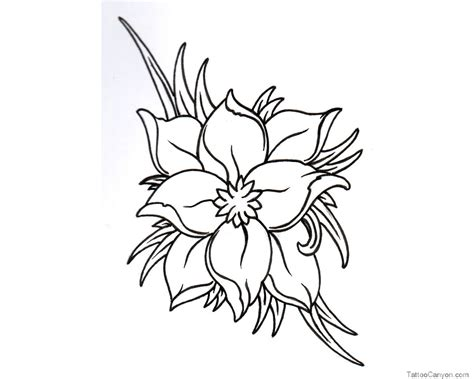 small flower tattoo design black and white flower designs cliparts co