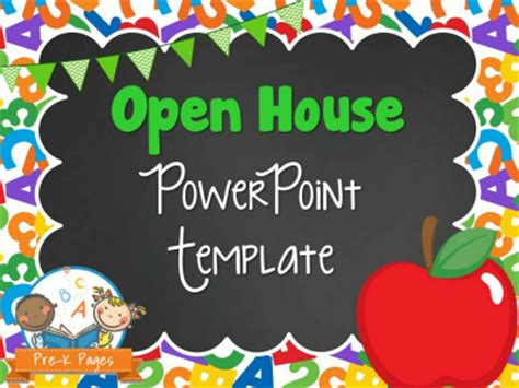 School Theme Open House Powerpoint Pre K Pages School Themed Powerpoint Templates