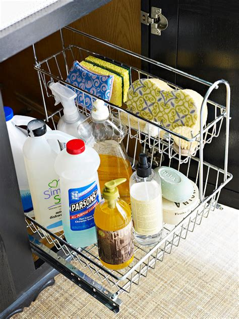 great idea for supplies under the kitchen sink too bhg style spotters