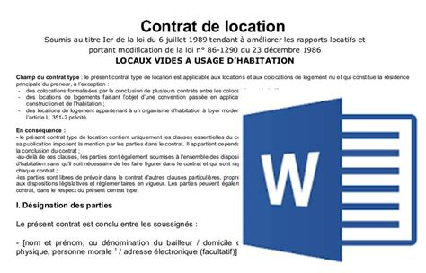 Modele Bail De Location Garage Pdf
