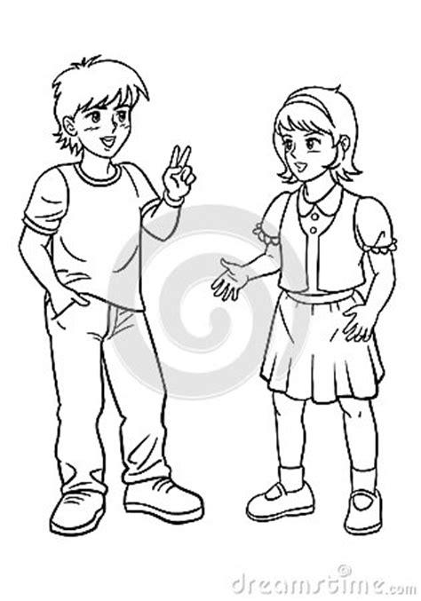 boy  girl talking stock photo image