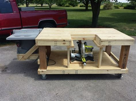 how to make a table saw bench mobile workbench table saw and miter saw is moveable by