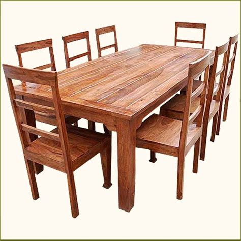 Oak Dining Room Table And Chairs 9 Pc Solid Wood Rustic Contemporary Dinette Dining Room