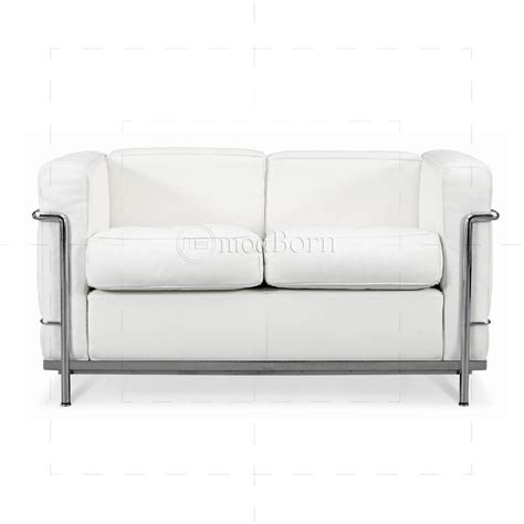 two sofa le corbusier style lc2 sofa 2 seater white leather