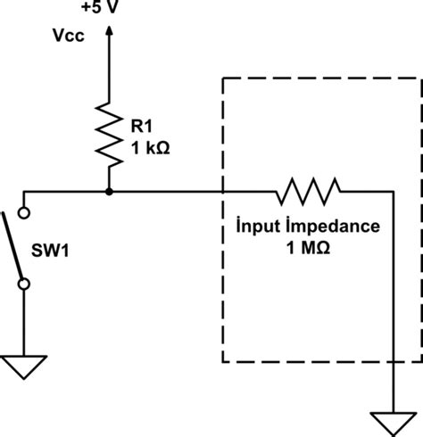 pull resistor typical value microcontroller considering input pin impedance when calculating pull up resistor value