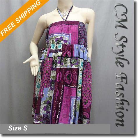 Batik Ethnic Skirt halter ethnic batik print bohemian tunic dress skirt purple